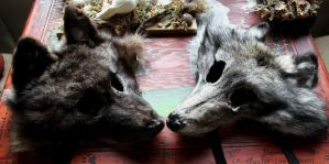 Two Wolf Masks Left FS! by lupagreenwolf