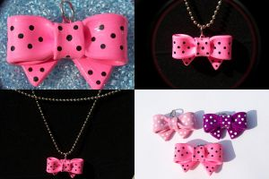 Hot Pink Bow Necklace by Shelby-JoJewelry