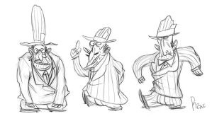 Gangsters sketches by Huguettepizzic