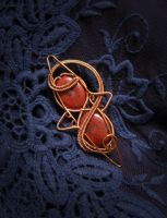 Red Jasper Brooch by diana-irimie
