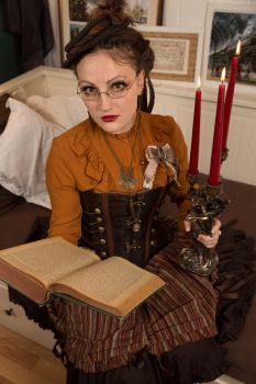 [STOCK] Steampunk girl with book and chandelier by AyraLeona
