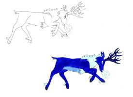 Blue Reindeer by DemonLady84