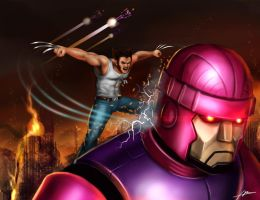 Wolverine vs sentinel by Abrem008