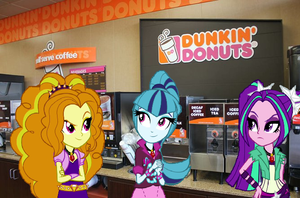 The dazzlings at Dunkin' Donuts! by NeonSunLightGlow