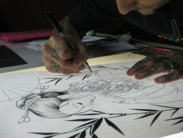 geisha at work by micaeltattoo