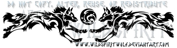 Tribal Running Wolves And Moon by WildSpiritWolf