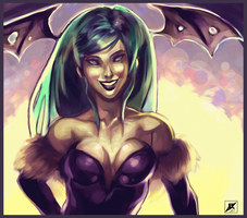 Morrigan Just Kinda Standing There Doing Nothing by daremaker
