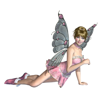 Pink Fairy 02 PNG Stock by Roy3D