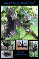 Black Phoenix Posable Art Doll by Eviecats