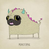 Monsterpug by Art-by-AnnaGrape