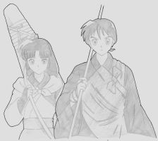 Sango and Miroku by elrond401