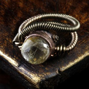 Steampunk ring gold quartz by CatherinetteRings