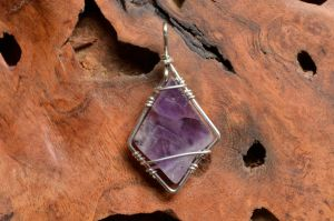 Chevron Amethyst diamond shaped pendant by lamorth-the-seeker