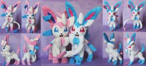 [PLUSH] Sylveon (regular+shiny) by ShiroTheWhiteWolf
