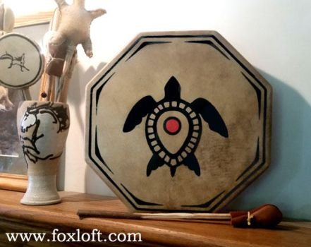Sea Turtle Totem Drum by Foxfeather248