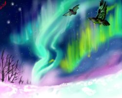 Under the Northern Lights by TheHomicidalPigeon
