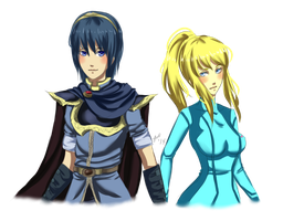 Marth x Zero Suit Samus by drive-a-leaf