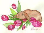 Rabbit and tulips by fairychamber