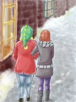 Del and Madi in Hogsmeade by librachik