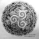 Oak and Falcon Triskelion by knotty-inks