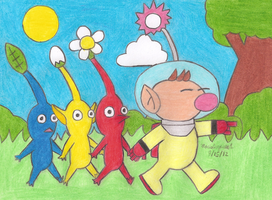 Pikmin and Olimar by MarioSimpson1