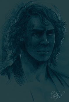 Anakin Blue Sketch by CassDoubleME