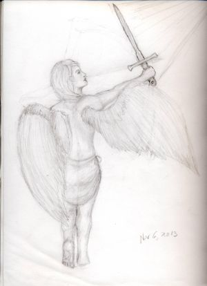 Girl With Wings And Sword