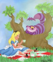Alice in Wonderland Coloring Page by shaina773