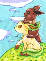 Eevee and Leafeon by Pascua-Tanya