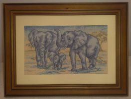 Elephants Cross Stitch by Tishounette