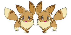Twin female eevees by leafstep