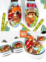 Red Panda SlipOns by Bobsmade