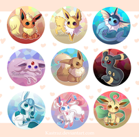 Eeveelution Buttons Set by Kastraz