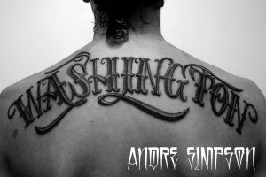 Washington lettering tattoo by ERASOTRON