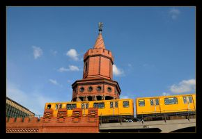 Yellow Train And Tower On The Bridge - Left by skarzynscy