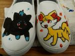 Shiny Zorua and Fennekin shoes by SqueakFace