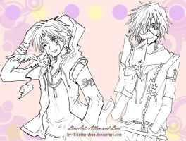 lineart: Allen and Lavi by Toriichi