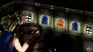 Cloud and Aerith in Church Roof by Mona737