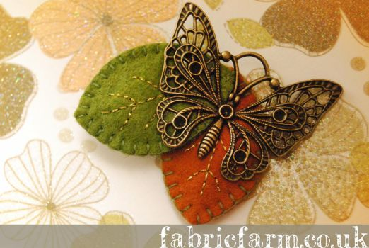 Butterfly on Autumn Leaves Brooch by fabricfarm