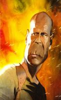 Bruce Willis caracature by HowardMolloy