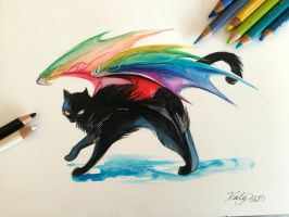 183- Black Rainbow Kitty by Lucky978