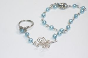 Blue Pearls Slave Bracelet by BrainofJen