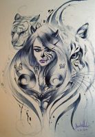 Tiger Lady MakeUp Drawing by 2kaptivate92