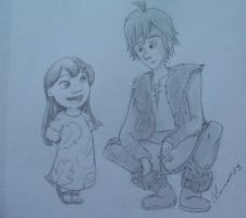 Sketch: Lilo and Hiccup by moonwolf03
