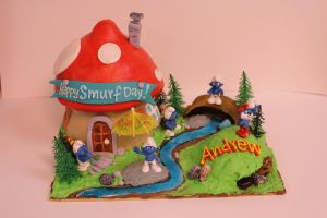 Smurf House Cake by Timtendo