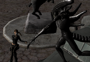 ALIENS vs LARA(aliens vs predator) by littlejohn123
