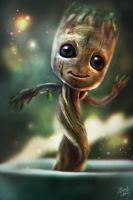 Little Baby Groot by Ice-wolf-elemental