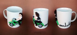 Coffee with motorcyclist by sarafactory