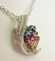 Woven Bismuth Crystal Necklace in Sterling Silver by HeatherJordanJewelry