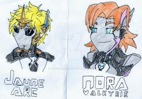RWBYxTransformers: Cybertronian Jaune and Nora by Mystic2760
